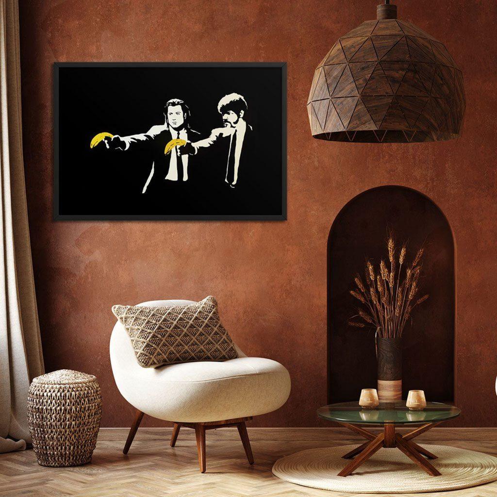 le tableau décoratif original de Banksy avec la scène de Pulp Fiction